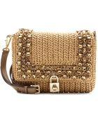 Dolce & Gabbana Dolce Embellishedraffia Shoulder Bag - Lyst