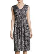 Rachel Pally Splatter-Print Ruched Midi Dress - Lyst