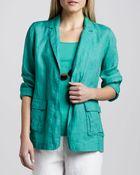 Eileen Fisher Handkerchief Linen Notchcollar Jacket - Lyst
