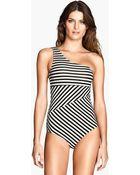 H&M Oneshoulder Swimsuit - Lyst