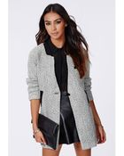 Missguided Petera Tweed Boyfriend Coat With Faux Leather Trim - Lyst