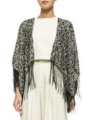 Alice + Olivia Bae Embroidered Beaded Fringe Shawl - Lyst