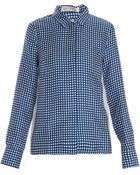 Victoria Beckham Silk Check Sports Shirt - Lyst