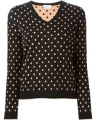 RED Valentino Polka-Dot Wool and Silk-Blend Sweater - Lyst