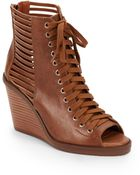 BCBGeneration Malbon Peep-Toe Lace-Up Wedge Boots/Toffee - Lyst