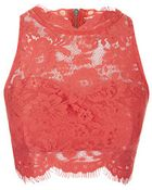 Topshop Lace High Neck Crop Top - Lyst