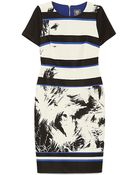 Vince Camuto Striped Palm Dress - Lyst
