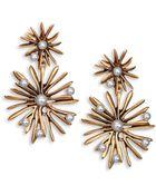 Oscar de la Renta Starburst Faux Pearl Clip-On Drop Earrings - Lyst