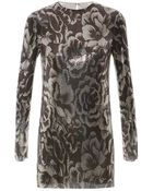Blumarine Rose Print Chainmail Dress - Lyst
