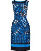 Oscar de la Renta Embroidered Silk Faille Dress - Lyst