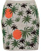 Topshop Palm Tree Lurex Skirt - Lyst