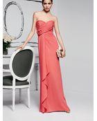 Badgley Mischka Rosette Shirred Strapless Gown - Lyst