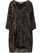 Diane von Furstenberg Fleurette Metallic Leopard-Jacquard And Silk-Chiffon Dress - Lyst