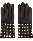 Valentino Black Leather Rockstud Back Gloves - Lyst