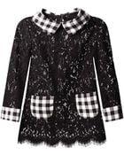 Dolce & Gabbana Gingham-Trim Lace Blouse - Lyst