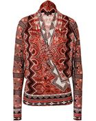 Etro Printed Jersey Wrap Top - Lyst