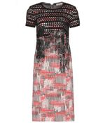 Bottega Veneta Crochet-Trimmed Printed Stretch-Silk Dress - Lyst