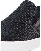 DKNY Beth Woven Leather Sneaker - Lyst