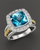 Lagos 18K Gold And Sterling Silver Prism Large Blue Topaz Ring With Diamonds - Lyst