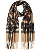Burberry Cashmere Graphic Check Scarf - Lyst