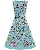 Oscar de la Renta Floral Embroidered Cocktail Dress - Lyst