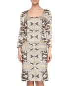 Philosophy di Alberta Ferretti 3/4-Sleeve Printed Dress - Lyst