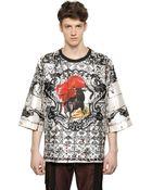 Dolce & Gabbana Oversize Bull Printed Silk T-Shirt - Lyst