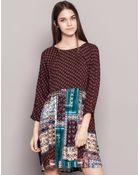 Pull&Bear Patchwork Print Flared Dress - Lyst