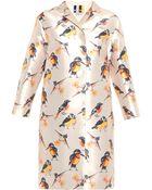 MSGM Bird-Print Satin Coat - Lyst