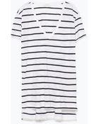 Zara V-Neck Striped T-Shirt - Lyst