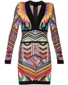 Balmain Tribal Knit Long-Sleeved Dress - Lyst