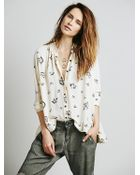 Free People Floral Print Ruffle Back - Lyst