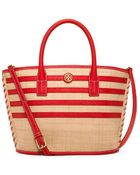 Tory Burch Stripe Straw Mini Tote - Lyst