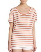 Michael Stars Striped Dropped Shoulder Linen Top - Lyst