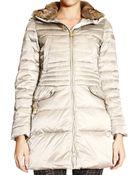 Peuterey Jacket Wave Long Satin With Fur Collar - Lyst