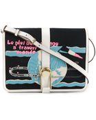 Olympia Le-Tan Globe Print Flap Shoulder Bag - Lyst