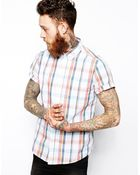 Asos Shirt In Short Sleeve With Mid Scale Check - Lyst