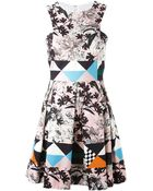MSGM Floral And Geometric Print Dress - Lyst