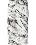 Helmut Lang Marble Print Pencil Skirt - Lyst