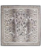 Roberto Cavalli Logo Leopard-Print Silk Scarf - Lyst