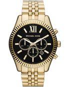 Michael Kors Mens Lexington Goldtone Chronograph Watch - Lyst