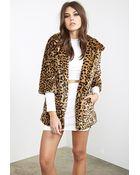 Forever 21 Faux Fur Cheetah Coat - Lyst