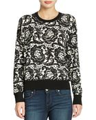 DKNY Oversized Lace-Print Sweater - Lyst