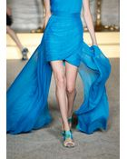 Matthew Williamson Azure Chiffon Embroidered Asymmetric Gown - Lyst