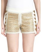 Alice + Olivia Beaded Leather Shorts - Lyst