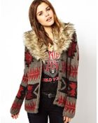 Ralph Lauren Printed Cardigan with Faux Fur Collar - Lyst