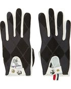 Moncler Gamme Bleu White Leather Argyle Gloves - Lyst