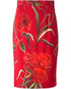 Dolce & Gabbana Carnations Print Pencil Skirt - Lyst