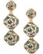 Oscar de la Renta Gold-Tone And Swarovski Crystal Rose Triple-Drop Earrings - Lyst