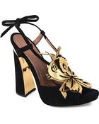 Marni Leather Sandals With Gold Flower - Lyst